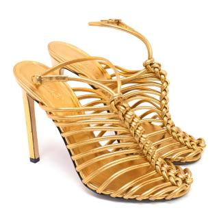 Gucci Gold Metalic Strappy Knotted Sandals