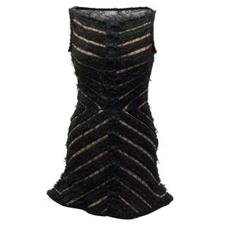 Dsquared2 Black Lace Flared Hem Dress With Bow Detail