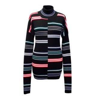 Kenzo Black Wool Striped Turtleneck
