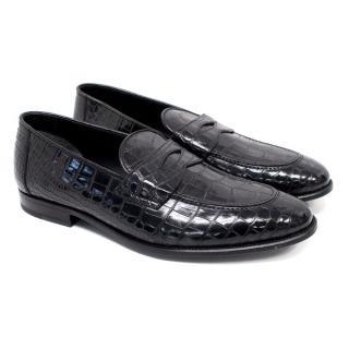 Tom Ford Men's Black Crocodile Leather Loafers