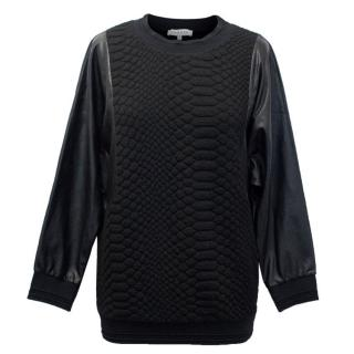 Sandro Croc Embossed Jumper with Faux Leather Sleeves