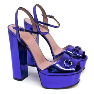 Gucci 'Deep Zaffiano' Blue Patent Leather Platform Pumps