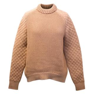 Salvatore Ferragamo Camel Knitted Jumper with Quilted Sleeves