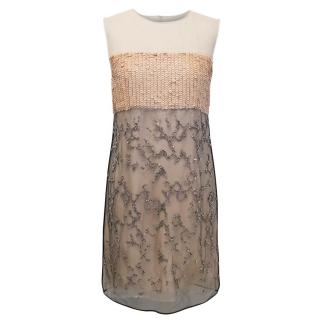 3.1 Phillip Lim Nude Dress with Mesh Overlay and Embellishment