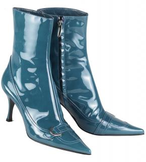 Sergio Rossi Teal Patent Leather Pointed toe Ankle Boots