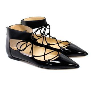 Jimmy Choo Black Patent Leather Lace Up Flats