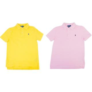 Kids Ralph Lauren Polos In Yellow And Pink