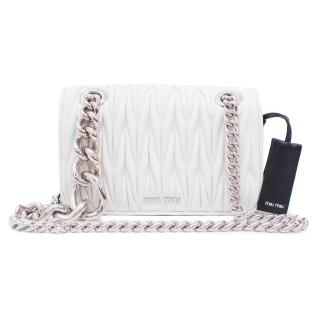 Miu Miu White Mini Matelasse Club Bag