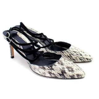 Chelsea Paris Snakeskin Kitten Heel Pumps with Suede Straps