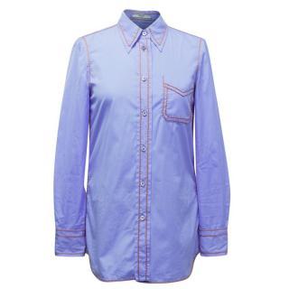 Prada Blue Shirt with Tan Stitching