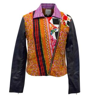 Thu Thu Colourful Embroidered Leather Jacket