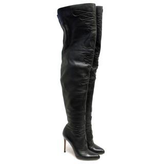 Gianvito Rossi Thigh-High Leather Boots with Applique