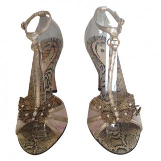 Just Cavalli leather and cloth butterfly T strap sandals
