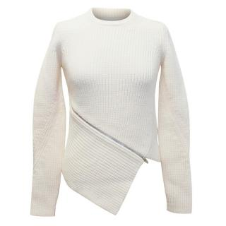 Alexander Wang Cream Chunky Knit Jumper with Zip