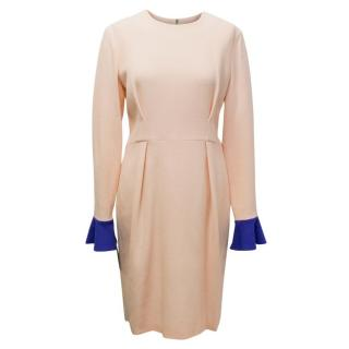 Roksanda Ilincic Izumi Nude Pink Dress with Blue Cuffs