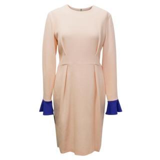 Roksanda Ilincic Izumi Nude Pink Dress with Blue Cuffs