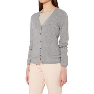 N.Peal v neck grey cashmere cardigan