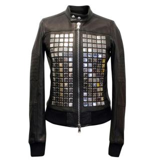 Diesel Black Gold Leather Jacket with Silver Studs