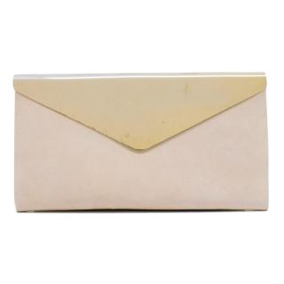 Jimmy Choo Nude Pink Suede and Gold Clutch