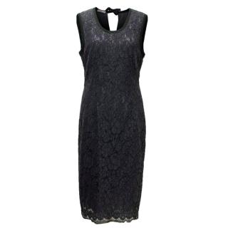 Prada Navy Lace Pencil Dress