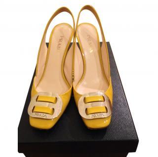Prada Yellow Patent Heels