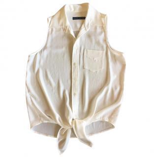 Ralph Lauren cream crepe tie front top