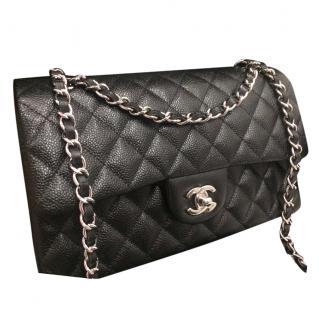 Chanel 2.55 medium double flap caviar black leather bag