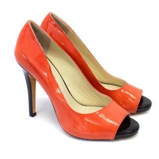 Chelsea Paris Patent Leather Orange Peep Toe Pumps