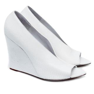 Burberry White Python Pointed Wedges