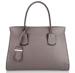 Tod's Note Tote Bag Taupe Leather