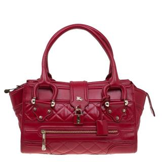 Burberry Red Quilted Leather Manor Satchel