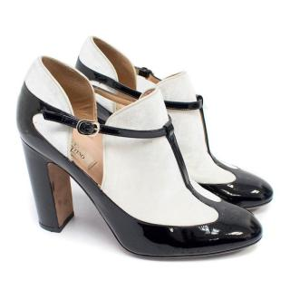 Valentino Black Leather and White Velvet Mary Jane Booties