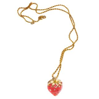 KJL Kenneth Jay Lane Crystal Strawberry Pendant Necklace