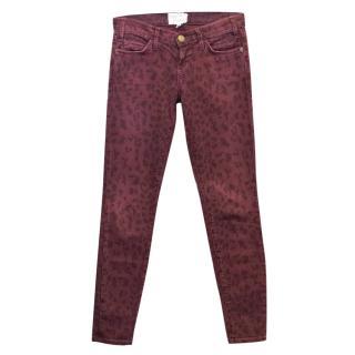 Current Elliott Burgundy Corduroy Leopard Skinny Jeans