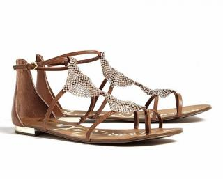 Sam Edelman light brown Tyra crystal plate leather flat sandals