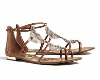 Sam Edelman light brown Tyra crystal plate leather flat sandals