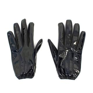 Louis Vuitton Black Patent Leather Gloves