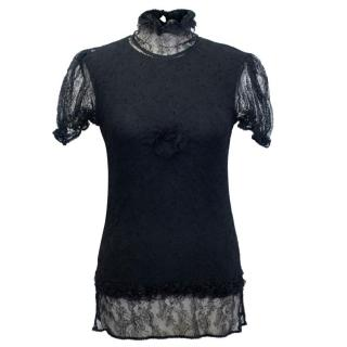 Chanel Black Sheer Lace Short Sleeves Top