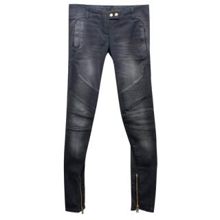 Balmain Grey Skinny Jeans with Gold Zip Details