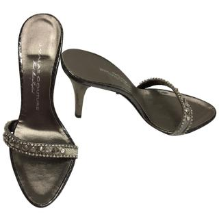 J Valas Silver Pewter Sandals UK 4 EU 37
