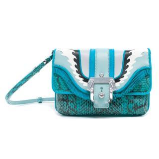 Paula Cademartori Turquoise Python Petite Shoulder Bag