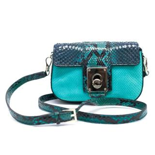 Tod's Turquoise Python Crossbody Bag with Gold Clasp