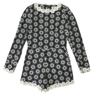 Manoush Alice Black and Ivory Embroidered Floral Playsuit