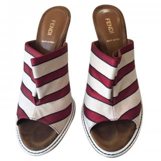 Fendi Striped Mules
