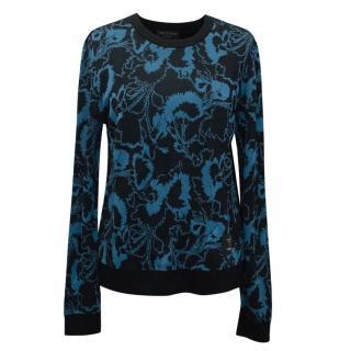 Rag & Bone Liberty Pullover Floral Sweater Blue