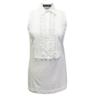 Dolce & Gabbana Frilled White Top