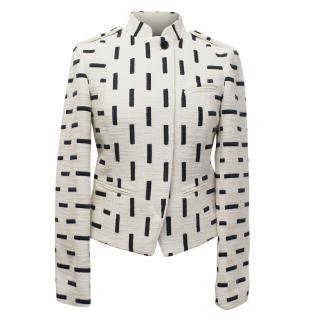 Tory Burch Cream and Black Tweed Pattern Jacket