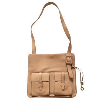 Loro Piana pocketed camel leather cross body bag