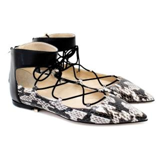 Jimmy Choo Python and Leather Lace Up Flats