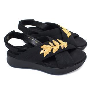 Burberry Black Embellished Sport Sandals